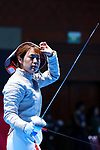 Shihomi Fukushima (JPN), <br /> AUGUST 19, 2018 - Fencing : <br /> Women's Individual Sabre Round of 16 <br /> at Jakarta Convention Center Cendrawasih <br /> during the 2018 Jakarta Palembang Asian Games <br /> in Jakarta, Indonesia. <br /> (Photo by Naoki Nishimura/AFLO SPORT)