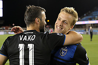SAN JOSE, CA - JUNE 26: Vako #11, Jackson Yueill #14 during a Major League Soccer (MLS) match between the San Jose Earthquakes and the Houston Dynamo on June 26, 2019 at Avaya Stadium in San Jose, California.