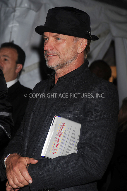 WWW.ACEPIXS.COM . . . . . ....October 20 2008, New York City....Musician Sting with a copy of 'All you need to know about the music business' under his arm arriving at an event in midtown Manhattan on October 20 2008 in New York City....Please byline: KRISTIN CALLAHAN - ACEPIXS.COM.. . . . . . ..Ace Pictures, Inc:  ..(646) 769 0430..e-mail: info@acepixs.com..web: http://www.acepixs.com