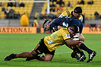Hurricanes&rsquo; Chris Eves and Highlanders&rsquo; Luke Whitelock in action during the Super Rugby - Hurricanes v Highlanders at Westpac Stadium, Wellington, New Zealand on Friday 8 March 2019. <br /> Photo by Masanori Udagawa. <br /> www.photowellington.photoshelter.com
