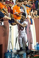 Landover, MD - August 24, 2018: Denver Broncos wide receiver Emmanuel Sanders (10) signs autographs for fans during preseason game between the Denver Broncos and Washington Redskins at FedEx Field in Landover, MD. The Broncos defeat the Redskins 29-17. (Photo by Phillip Peters/Media Images International)