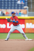Tim Lopes (5) of the Buffalo Bison prepares to make a throw to first base during the game against the Durham Bulls at Durham Bulls Athletic Park on April 25, 2018 in Allentown, Pennsylvania.  The Bison defeated the Bulls 5-2.  (Brian Westerholt/Four Seam Images)
