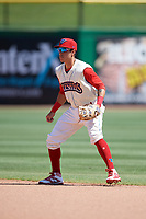 Clearwater Threshers second baseman Jose Gomez (3) during a game against the Jupiter Hammerheads on April 11, 2018 at Spectrum Field in Clearwater, Florida.  Jupiter defeated Clearwater 6-4.  (Mike Janes/Four Seam Images)