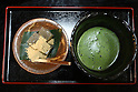 July 20, 2010 - Niiza, Japan - (L-R) Warabimotchi, a jelly-like confection made from bracken starch, and Maccha (Japanese tea), are seen in a restaurant near  Heirinji, Rinzai temple of the Myoshin-ji branch located in Niiza city, Japan, on July 20, 2010. Visiting the temple and taste the buddhist vegetarian cuisine is part of a 'True Japan Saitama' tour, organized by the travel agency JTB for leisure travelers.