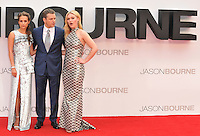 Alicia Vikander, Matt Damon &amp; Julia Stiles at the &quot;Jason Bourne&quot; European film premiere, Odeon Leicester Square cinema, Leicester Square, London, England, UK, on Monday 11 July 2016.<br /> CAP/CAN<br /> &copy;CAN/Capital Pictures /MediaPunch ***NORTH AND SOUTH AMERICAS ONLY***