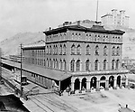 Pittsburgh PA:  Pennsylvania Railroad's Union Station - 1877.  This building was built in the 1860s and burned down in 1879.