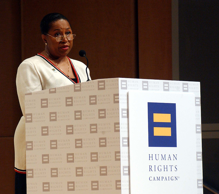 "7/15/03.DEMOCRATIC PRESIDENTIAL FORUM ON GAY ISSUES--Human Rights Campaign Executive Director Elizabeth Birch, during a presidential forum, ""Speaking of Equality,"" hosted by the Human Rights Campaign, featuring seven of the nine 2004 Democratic presidential candidates. HRC is an advocacy group for gays, lesbians, bisexuals and transgenders. Carol Moseley Braun, Howard Dean, Rep. Richard Gephardt, D-Mo., Sen. John Kerry, D-Mass., Rep. Dennis Kucinich, D-Ohio, Sen. Joseph I. Lieberman, D-Conn., and Al Sharpton participated; Sen. John Edwards, D-N.C., and Sen. Bob Graham, D-Fla., were not able to. Sam Donaldson of ABC News moderated. .CONGRESSIONAL QUARTERLY PHOTO BY SCOTT J. FERRELL"