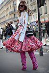Street Style during Paris Fashion Week Spring Summer 2018 on Saturday 30th September 2017. (Photo by JSTREETSTYLE/AFLO)