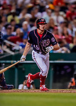 21 September 2018: Washington Nationals outfielder Andrew Stevenson in action against the New York Mets at Nationals Park in Washington, DC. The Mets defeated the Nationals 4-2 in the second game of their 4-game series. Mandatory Credit: Ed Wolfstein Photo *** RAW (NEF) Image File Available ***