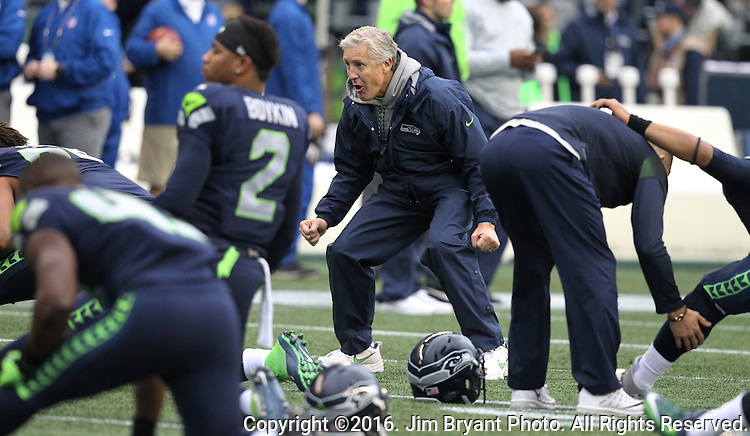 Seattle Seahawks head coach Pete Carroll fires his players  during warm ups   before their game against the Philadelphia Eagles at CenturyLink Field in Seattle, Washington on November 20, 2016.  Seahawks beat the Eagles 26-15.  ©2016. Jim Bryant Photo. All Rights Reserved.