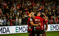 Ryan Crotty of the Crusaders celebrates following the final whistle in the 2018 Super Rugby final between the Crusaders and Lions at AMI Stadium in Christchurch, New Zealand on Sunday, 29 July 2018. Photo: Joe Johnson / lintottphoto.co.nz