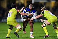 Beno Obano of Bath Rugby takes on the Leicester Tigers defence. Anglo-Welsh Cup match, between Bath Rugby and Leicester Tigers on November 4, 2016 at the Recreation Ground in Bath, England. Photo by: Patrick Khachfe / Onside Images