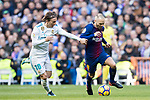 Andres Iniesta Lujan (R) of FC Barcelona battles for the ball with Luka Modric of Real Madrid during the La Liga 2017-18 match between Real Madrid and FC Barcelona at Santiago Bernabeu Stadium on December 23 2017 in Madrid, Spain. Photo by Diego Gonzalez / Power Sport Images