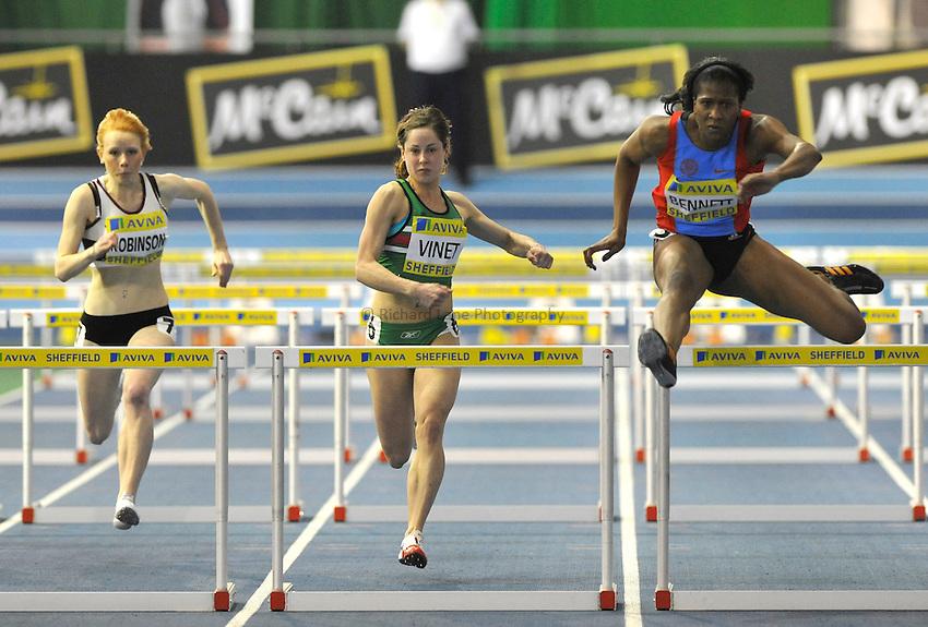 Photo: Paul Greenwood/Richard Lane Photography. Aviva World Trials & UK Championships. 14/02/2010. .Gemma Bennett in the Womens 60m Hurdles.