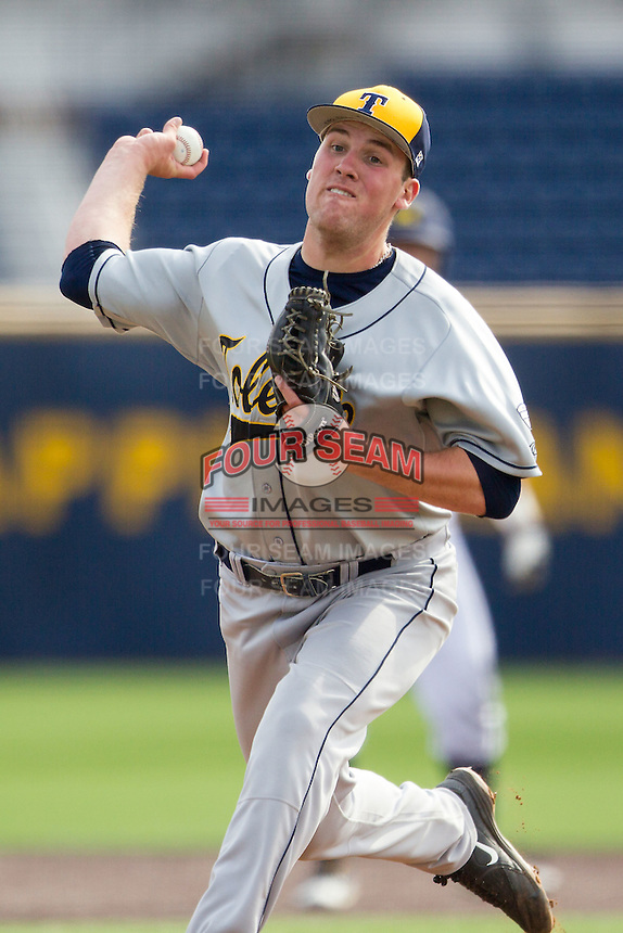 Toledo Rockets pitcher Parker Ruffer (36) delivers a pitch to the plate against the Michigan Wolverines on April 20, 2016 at Ray Fisher Stadium in Ann Arbor, Michigan. Michigan defeated Bowling Green 2-1. (Andrew Woolley/Four Seam Images)
