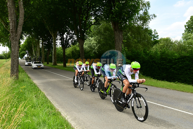 Team Dimension Data in full flight during Stage 3 of the 2018 Criterium du Dauphine 2018 a Team Time Trial running 35km from Pont de Vaux to Louhans Chateaurenaud, France. 6th June 2018.<br /> Picture: ASO/Alex Broadway | Cyclefile<br /> <br /> <br /> All photos usage must carry mandatory copyright credit (© Cyclefile | ASO/Alex Broadway)