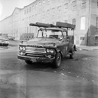 Dodge Panel Service Truck for Southern New England Telephone (SNET), with Bell System Logo. On-The-Scene Accident Photographs at Wallace & Saint John Streets New Haven CT circa 1962. Photography by Robert F Anderson Legal Photo Service.