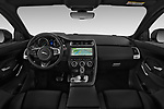 Stock photo of straight dashboard view of a 2019 Jaguar E-PACE R-Dynamic S 5 Door SUV