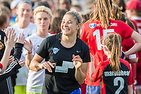 Boston, MA - Saturday April 29, 2017: Rosie White and fans during a regular season National Women's Soccer League (NWSL) match between the Boston Breakers and Seattle Reign FC at Jordan Field.