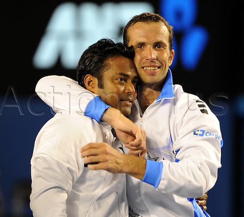 28 01 2012   Melbourne Australia.  Leander Paes r of India and Radek Stepanek of Czech Republic Celebrate After defeating Bob and Mike Bryan of The United States in their Men s Doubles Final Match AT 2012 Australian Open Tennis Championship AT Melbourne Park in Melbourne Australia Leander Paes and Radek Stepanek Won 2 0 to Claim The Title