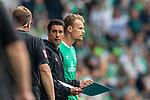 01.09.2019, wohninvest WESERSTADION, Bremen, GER, 1.FBL, Werder Bremen vs FC Augsburg<br /> <br /> DFL REGULATIONS PROHIBIT ANY USE OF PHOTOGRAPHS AS IMAGE SEQUENCES AND/OR QUASI-VIDEO.<br /> <br /> im Bild / picture shows<br /> Ilia Gruev (Co-Trainer SV Werder Bremen) mit Anweisungen vor Einwechselspieler Christian Groß / Gross (Werder Bremen #36), <br /> <br /> Foto © nordphoto / Ewert