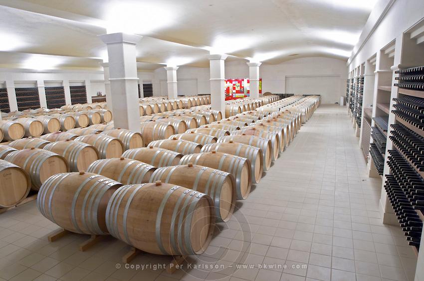 Oak barrel aging and fermentation cellar. Ktima Pavlidis Winery, Drama, Macedonia, Greece