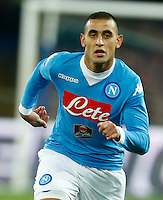 Napoli's Faouzi Ghoulam  during the  italian serie a soccer match,between SSC Napoli and Sassuolo    at  the San  Paolo   stadium in Naples  Italy ,Napoli  wins  3-1