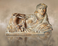 Etruscan Hellenistic style cinerary, funreary, urn  cover,  National Archaeological Museum Florence, Italy