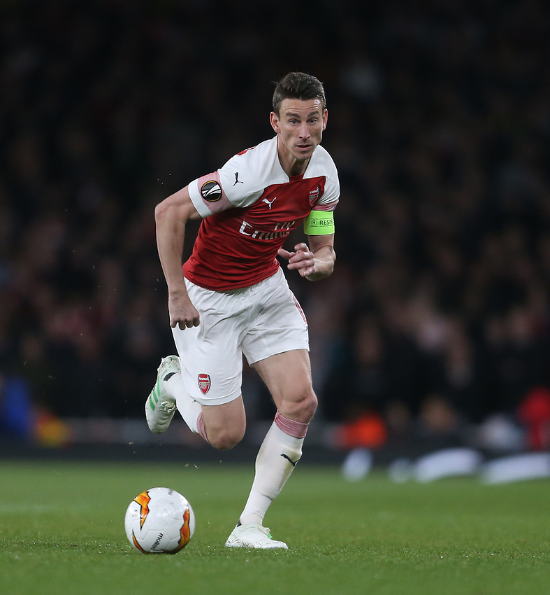 Arsenal's Laurent Koscielny<br /> <br /> Photographer Rob Newell/CameraSport<br /> <br /> UEFA Europa League Semi-final 1st Leg - Arsenal v Valencia - Thursday 2nd May 2019 - The Emirates - London<br />  <br /> World Copyright © 2018 CameraSport. All rights reserved. 43 Linden Ave. Countesthorpe. Leicester. England. LE8 5PG - Tel: +44 (0) 116 277 4147 - admin@camerasport.com - www.camerasport.com