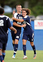 Florida International University men's soccer player Quentin Albrecht (22) celebrates his goal against Stetson University on September 10, 2011 at Miami, Florida.  FIU won the game in overtime 3-2. .