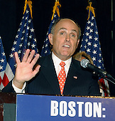 "Boston, MA - July 29, 2004 -- Former New York Mayor Rudy Giuliani speaks at a Republican rally and press conference in Boston, Massachusetts on July 29, 2004.  In response to a reporter's question about the Michael Moore film ""Farenheit 911"", Giuliani responded ""I don't need Michael Moore to tell me about 9/11""..Credit: Ron Sachs / CNP"