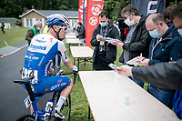 Iljo Keisse (BEL/Deceuninck-QuickStep) interviewed from behind a table at the start of the inaugural GP Vermarc 2020, which is the very first pro cycling race in Belgium after the covid19 lockdown of Spring 2020 & which was only set up some weeks in advance to accommodate belgian teams by providing racing opportunities asap after the lockdown allowed for racing to restart (but still under strict quarantine / social distancing measures for the public, riders & press)<br /> <br /> Rotselaar (BEL), 5 july 2020<br /> ©kramon