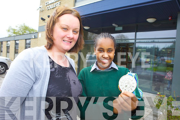 Student Aishaa Hassan who won a national maths award pictured with teacher Sharon Hegarty.
