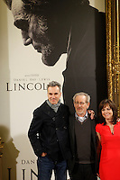 Steven Spielberg, Sally Field and Daniel Day-Lewis attend 'Lincoln' photocall at Casa de America in Madrid, Spain. January 16, 2013. (ALTERPHOTOS/Caro Marin) /NortePhoto