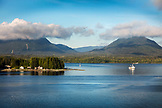 USA, Alaska, Ketchikan, a fishing boat heading out of the Port of Ketchikan