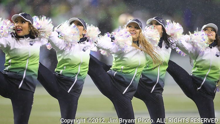 Seattle Seahawks' Seagals perform during their game against the San Francisco 49ers at CenturyLink Field in Seattle, Washington on  December 23, 2012.     The Seahawks beat the 49ers 35-13. ©2012. Jim Bryant Photo. All Rights Reserved.