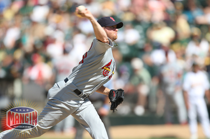 OAKLAND, CA - June 17:  Ryan Franklin of the St. Louis Cardinals pitches during the game against the Oakland Athletics at the McAfee Coliseum in Oakland, California on June 17, 2007.  The Cardinals defeated the Athletics 10-6.  Photo by Brad Mangin