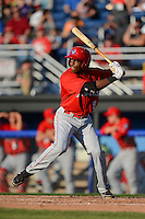 Auburn Doubledays outfielder Isaac Ballou #9 during a game against the Batavia Muckdogs on June 18, 2013 at Dwyer Stadium in Batavia, New York.  Batavia defeated Auburn 10-2.  (Mike Janes/Four Seam Images)