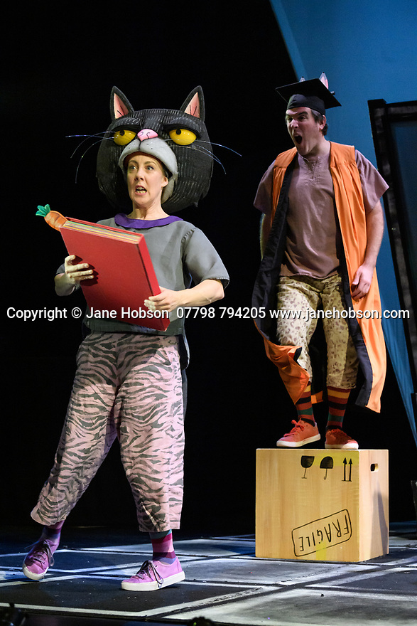 "Kenny Wax Family Entertainment presents ""Oi Frog & Friends!"" at the Lyric Theatre, Shaftesbury Avenue, from 29th November 2019 to 5th January 2020. Based on the books by Kes Gray & Jim Field, it is created for the stage by director, Emma Earle and desinger Zoe Squire (co-artistic directors of Pins and Needles Productions), with puppet design by Yvonne Stone and lighting design by Ric Mountjoy. The cast is: John Winchester (Frog), Lucy Tuck (Cat), Darren Seed (Dog) and Simon Yadoo (Gnu)."