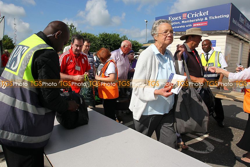 Fans arrive at the ground as a large queue forms ahead of the gane - Essex CCC vs England - LV Challenge Match at the Essex County Ground, Chelmsford - 30/06/13 - MANDATORY CREDIT: Gavin Ellis/TGSPHOTO - Self billing applies where appropriate - 0845 094 6026 - contact@tgsphoto.co.uk - NO UNPAID USE
