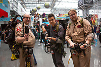NEW YORK, USA - October 3: Ghostsbusters cosplayers pose during day one of New York Comic Con at the Jacob K. Javits Convention Center on Oct. 3, 2019 in New York.<br /> The 2019 New York Comic-Con at the Jacob K. Javits Convention Center Day 1 with the latest in superhero movies, sci-fi shows, animation, video games, comic book releases available to attendees.<br /> (Photo by Luis Boza/VIEWpress/Corbis via Getty Images)