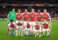 Arsenal pre match team photo (back row l-r) Goalkeeper Petr Cech, Mattéo Guendouzi, Sokratis Papastathopoulos, Rob Holding, Danny Welbeck and Carl Jenkinson (front row l-r) Alex Iwobi, Henrikh Mkhitaryan, Emile Smith-Rowe, Aaron Ramsey and Stephan Lichtsteiner during the UEFA Europa League match between Arsenal and Sporting Clube de Portugal at the Emirates Stadium, London, England on 8 November 2018. Photo by Andrew Aleksiejczuk / PRiME Media Images.<br /> .<br /> (Photograph May Only Be Used For Newspaper And/Or Magazine Editorial Purposes. www.football-dataco.com)