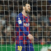 7th March 2020; Camp Nou, Barcelona, Catalonia, Spain; La Liga Football, Barcelona versus Real Sociedad;  Leo Messi looks dejected as his effort is wide