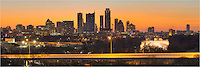 The Austin Skyline glows in the warm predawn light on a cold February morning in this panorama photo taken from the Zilker Park Clubhouse