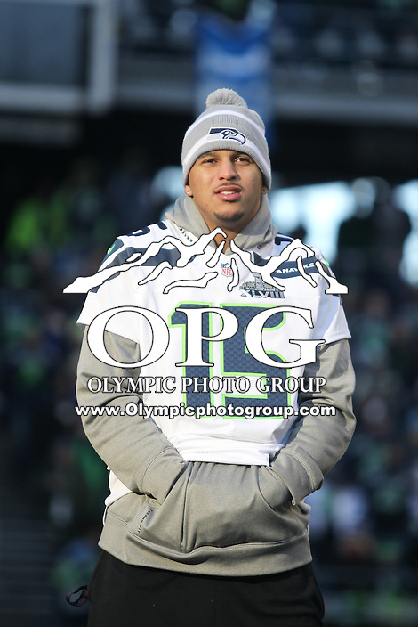 2014-02-05:  Seattle Seahawks wide receiver Jermaine Kearse hung out on stage with teammates. Seattle Seahawks players and 12th man fans celebrated bringing the Lombardi trophy home to Seattle during the Super Bowl Parade at Century Link Field in Seattle, WA.