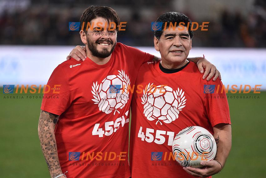 Diego JR Sinagra Maradona son, Diego Armando Maradona <br /> Roma 12-10-2016 Stadio Olimpico <br /> Incontro di calcio benefico Uniti per la Pace <br /> Charity football match United for Peace . Foto Andrea Staccioli / Insidefoto