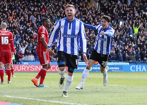 30.04.2016. Hillsborough, Sheffield, England. Skybet Championship. Sheffield Wednesday versus Cardiff City. Sheffield Wednesday's Gary Hooper ccelebrate's his first goal