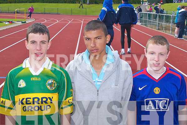 2257-2259.ATHLETES: Tralee Harriers athletes Michael Godley, Danny OConnor and Cian Foley who competed at the Munster Masters and Juvenile Track and Field Championships in Castleisland last Sunday...