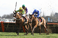 Race winner Islandmagee ridden by Adam Wedge (R) jumps alongside Star Of Massini ridden by Jeremiah McGrath in the Kempton.co.uk Conditional Jockey's Handicap Hurdle - Horse Racing at Kempton Park Racecourse