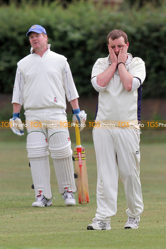 Putney of Noak Hill reacts after he goes close to a wicket - Noak Hill Taverners CC 2nd XI (fielding) vs Hornchurch Athletic CC 3rd XI - Essex Cricket League - 28/05/11 - MANDATORY CREDIT: Gavin Ellis/TGSPHOTO - Self billing applies where appropriate - Tel: 0845 094 6026